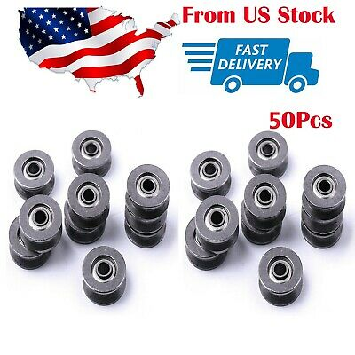 50 Pcs Deep V Groove Guide Pulley Rail Ball Bearings Wheel For Doors And Windows