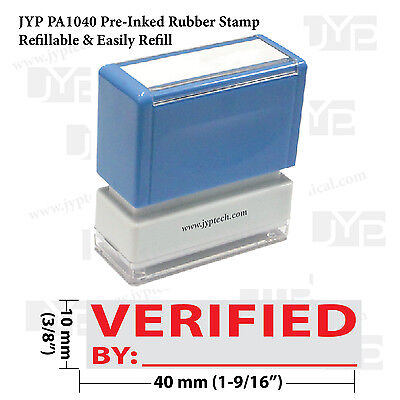New Jyp Pa1040 Pre-inked Rubber Stamp W. Verified With By