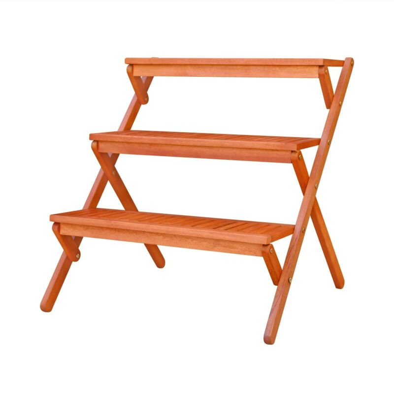 Vifah Malibu Outdoor Three-layer Wood Garden Plant Stand