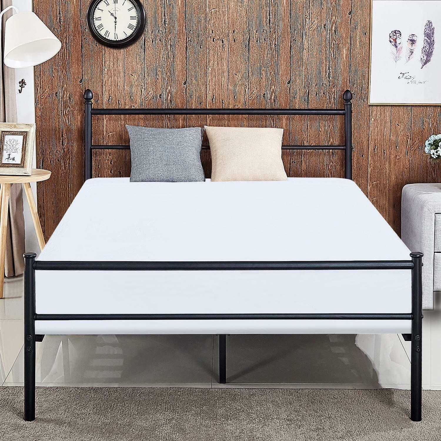 Metal Platform Bed Frame Queen with Storage Headboard Easy Assembly