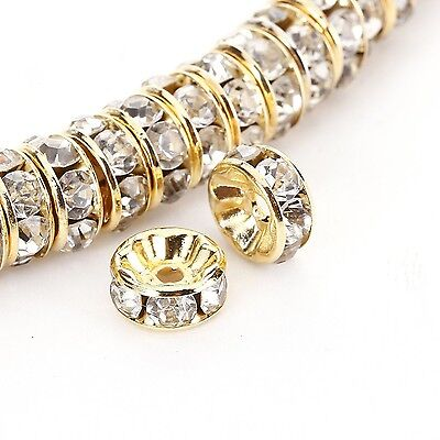 BRCbeads 8mm Gold Plated Crystal Rondelle Spacer Beads 100pcs per bag for... NEW