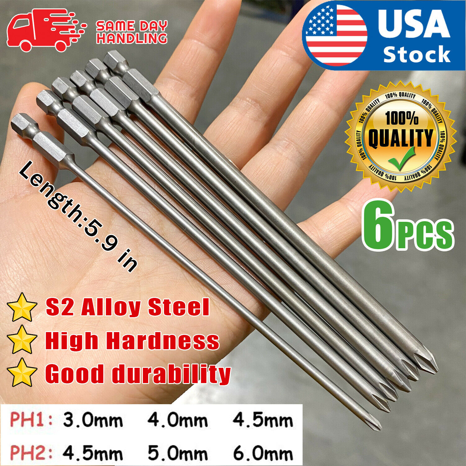 USA 6pcs PHILLIPS 6″ MAGNETIC PH2 TIPS SCREW DRIVER INSERT BIT POWER DRILL ROUND Bits, Chisels & Breaker Points