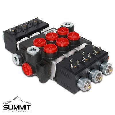 Hydraulic Monoblock Solenoid Motor Control Valve 3 Spool 13 Gpm 12v Dc