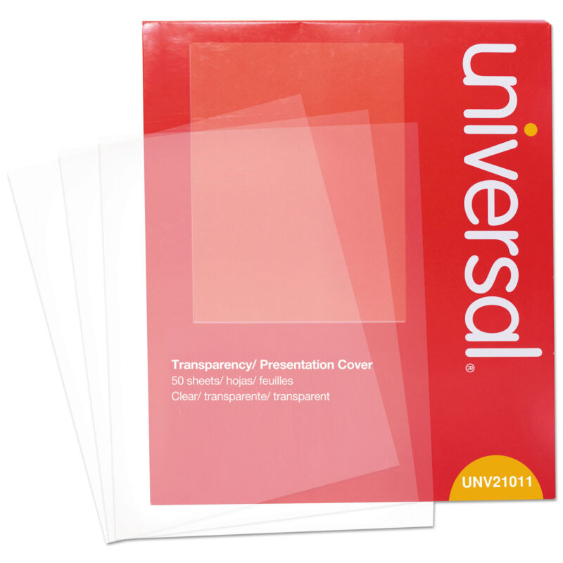 Universal Transparent Sheets B&W Laser/Copier Letter Clear 50/Pack 21011