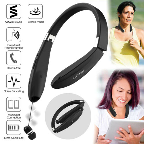 Foldable Stereo Neckband Headset Wireless Retractable Earpho