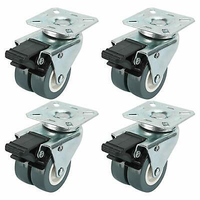 Set Of 4 Dual Wheel Heavy Duty Swivel Plate Casters 4 With Brakes Ball Bearing