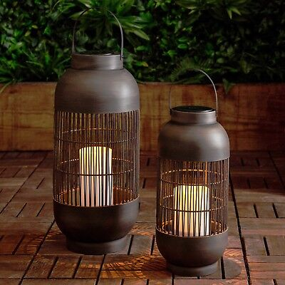 Set of Two Black Metal Cylindrical Solar LED Garden Candle Lanterns _Lights4fun