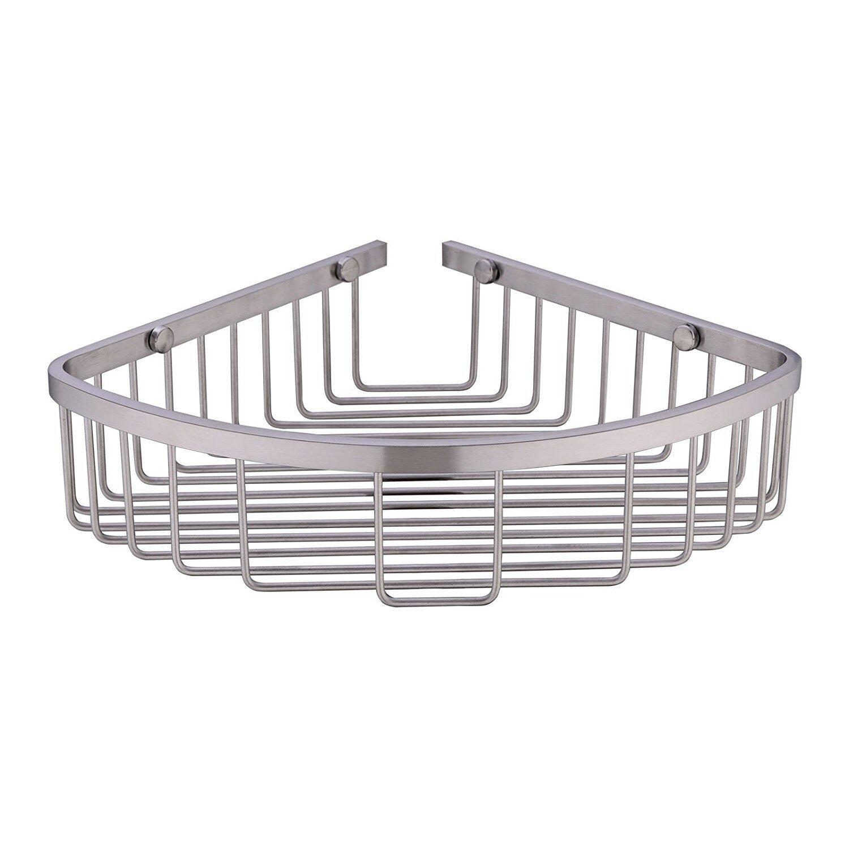 Brushed Nickel SUS 304 Glass Shower Caddy Hook storage rack bathroom accessory