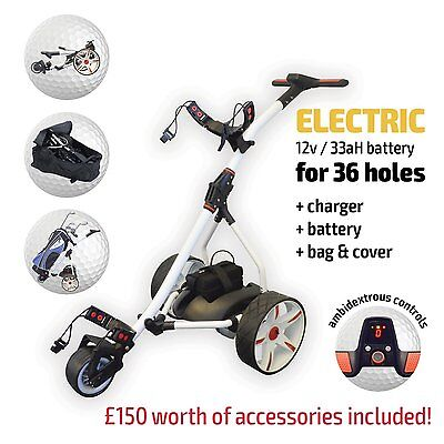 Electric Golf Trolley, Red & White From Pro Rider, 36 Hole Battery & Charger