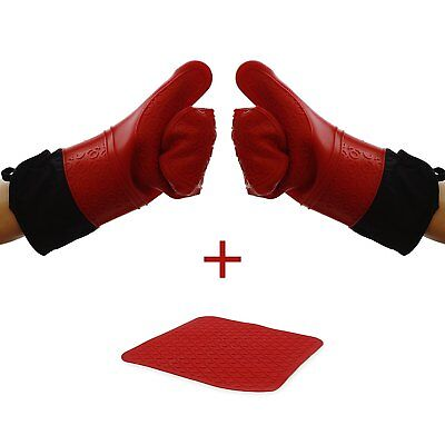 Elbee 642 Extra Long Silicone Mitts/Gloves With Trivet Quilted Cotton Lined Cotton Extra Long Gloves