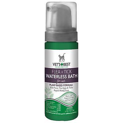 Vet's Best Flea and Tick Waterless Bath Foam Dry Shampoo for Cats, 5 oz, USA