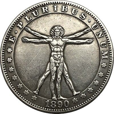 Hobo Nickel  1890-CC USA Morgan Dollar Vitruvian Man COIN