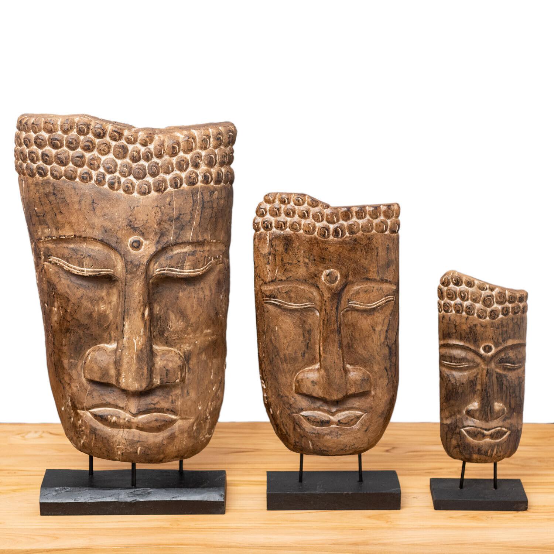 WOHNFREUDEN Holz-Skulptur Buddha-Gesicht verschiedene Größen Suarholz-Relief