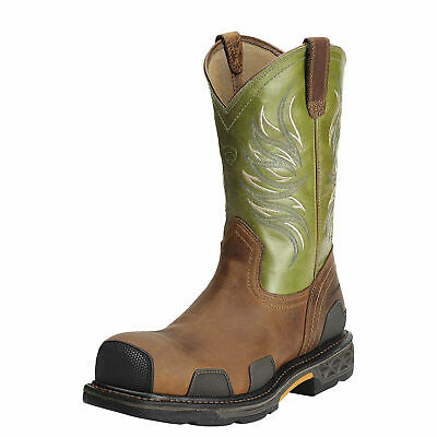 Ariat 10011921 Overdrive Safety Toe Green Pull On Wellington Non Slip Work (Wellington Green)