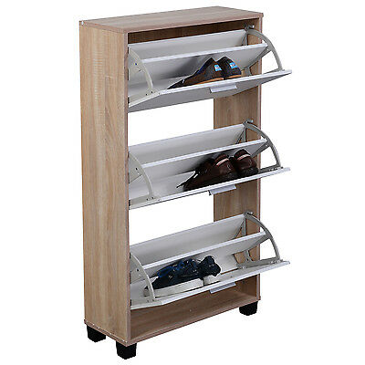 COSTWAYShoe Rack Storage Cabinet 3 Drawers Wood Furniture Entryway New