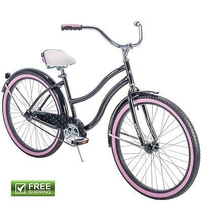 "Black Cruiser Bike Huffy 26"" Women Comfort City Beach Commuter Pink Bicycle New! Huffy Steel Bicycle"