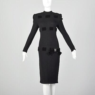 80s Dresses | Casual to Party Dresses M Black Dress 1980s Long Sleeve Sweater LBD Mock Neck Winter Cocktail 80s VTG $153.00 AT vintagedancer.com