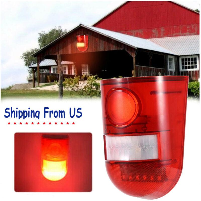 Solar Alarm Strobe Light Lamp Motion Sensor Waterproof Sound Security Outdoor