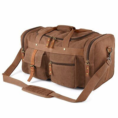 Plambag Oversized Canvas Duffel Overnight Travel Tote Weekend Bag Coffee Gray Bag Canvas Coffee