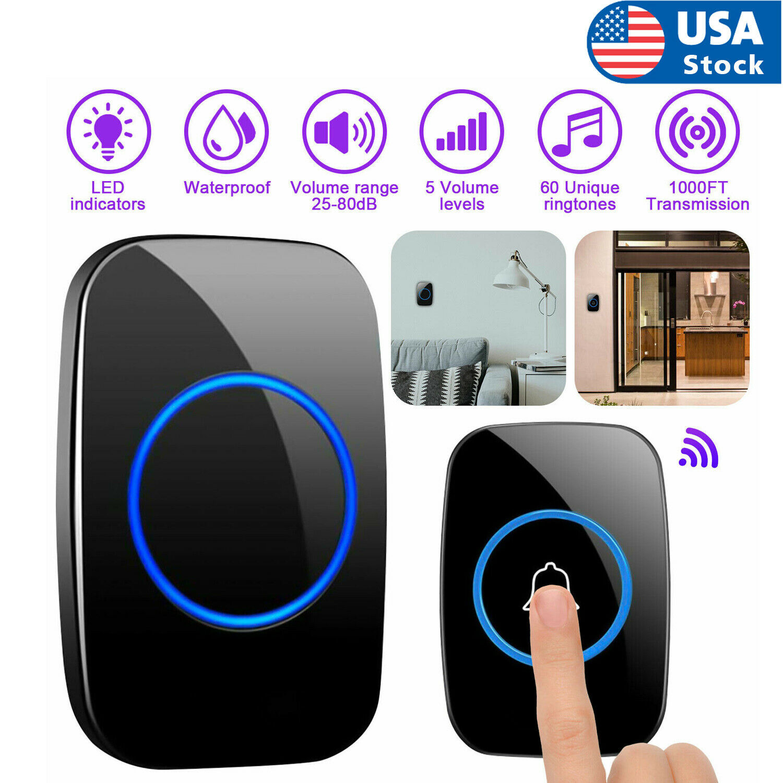 Wireless Doorbell Chime Waterproof Plugin Receiver Adjustable Volume 1000FT Kit Building & Hardware