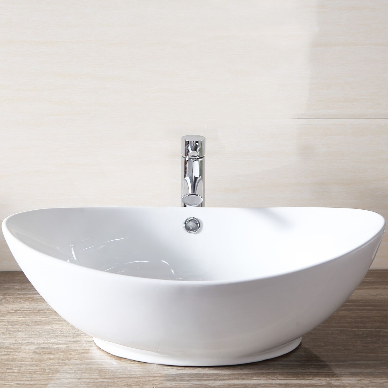 white porcelain ceramic bathroom sink vessel vanity basin bowl w pop up drain ebay