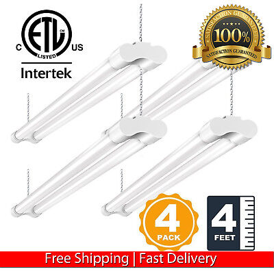 (4 PACK 4FT LED SHOP LIGHT 5000K DAYLIGHT FIXTURE UTILITY CEILING LIGHTS GARAGE)