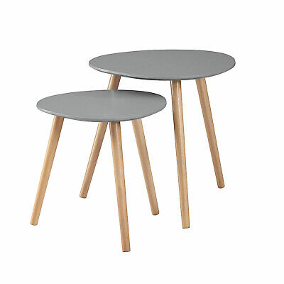 Convenience Concepts Oslo Modern Sturdy Wood Nesting End Tables, Gray (Open Box)