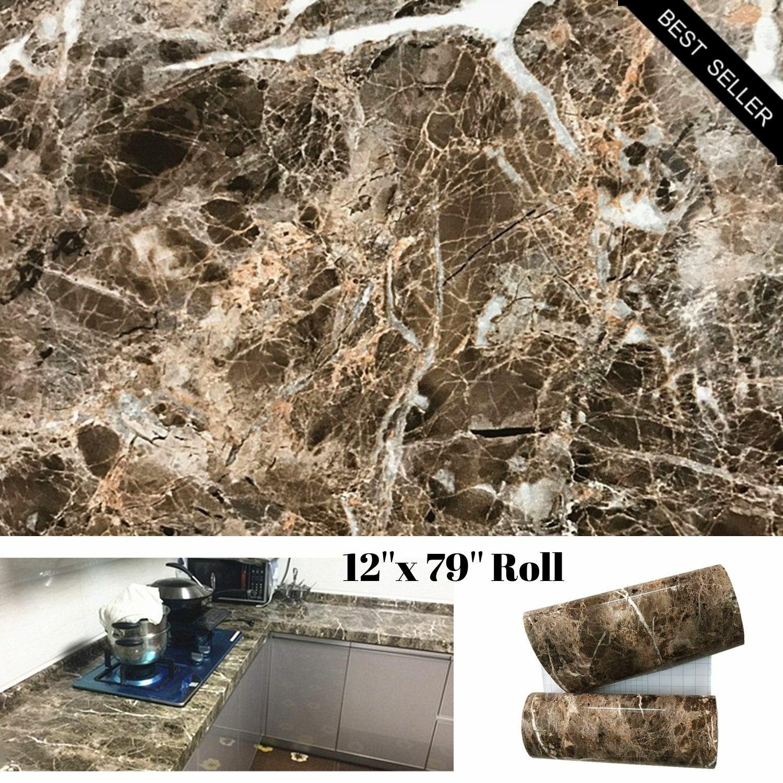 Brown Marble Granite Contact Paper Countertop Vinyl Self Adh