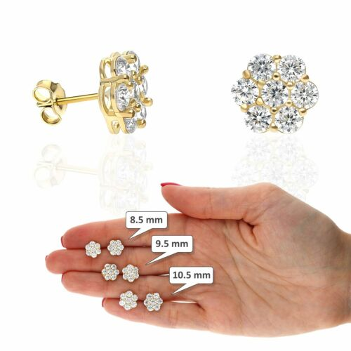 10K Yellow Gold Created Round Diamond Flower Cluster Stud Earrings 8.5mm-10.5mm