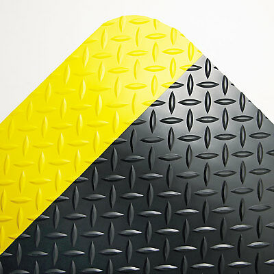 Crown Industrial Deck Plate Anti-Fatigue Mat Vinyl 36 x 60 Black/Yellow (Deck Plate Anti Fatigue Mat)