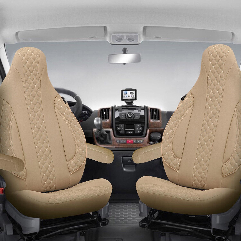 2 Stück Wohnmobil Sitzbezüge Schonbezüge Fahrer und Beifahrer in Beige Pilot