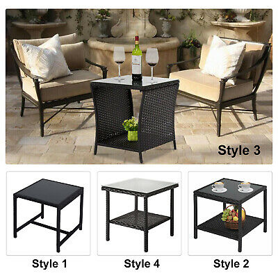 Wicker Side End Table Glass Top Outdoor Coffee Tea Table Patio Garden 4 Style