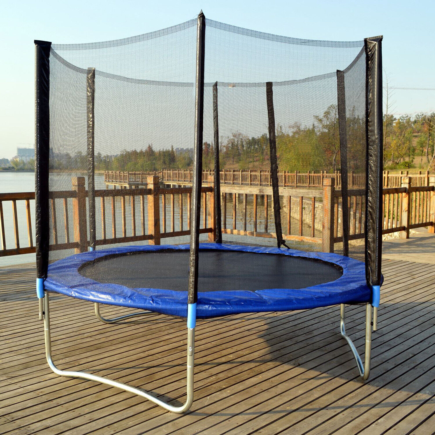 New 10 FT Trampoline Combo Bounce Jump Safety Enclosure Net W/Spring Pad Fitness Equipment & Gear