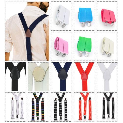 Adjustable Braces Mens Womens Unisex Trouser Elastic Y-back Suspenders Clipon