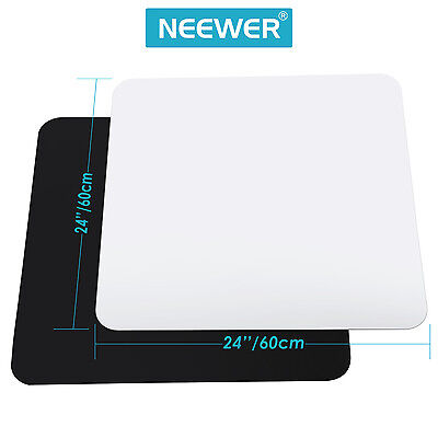 """Neewer 24x24"""" Acrylic White Black Reflective Display Table Background Boards"""