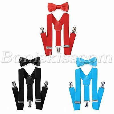 - Kids Children Boys Fashion Suspenders Straps Bow Tie Set Elastic Black/Red/Blue