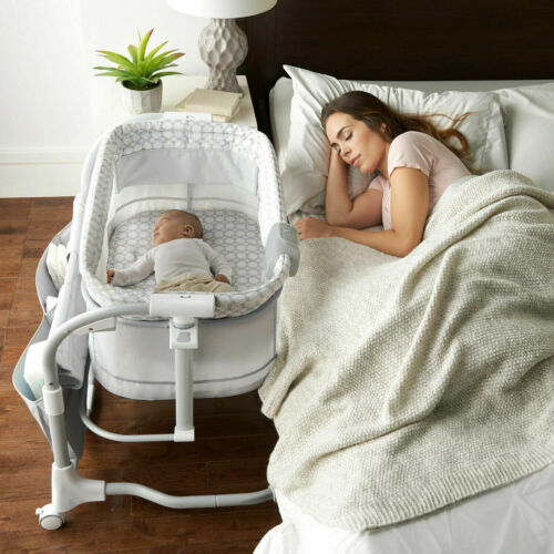 Baby Crib Bedside Bassinet W/ 16 x 31 Mattress Adjustable Cradle Home Bedroom