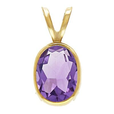 14k Yellow Gold 2.72ctw Amethyst Oval Solitaire Double Bail Pendant Bail 14k Yellow Gold Solitaire