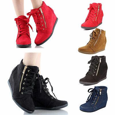 Women Hidden Wedge Sneakers Ankle Booties Boots Platform High Top Lace Up Zipper