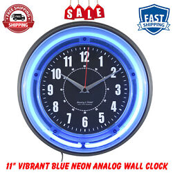 Noble 11, Vibrant Blue Neon, Wall Clock, Requires 1AA Battery (not included)