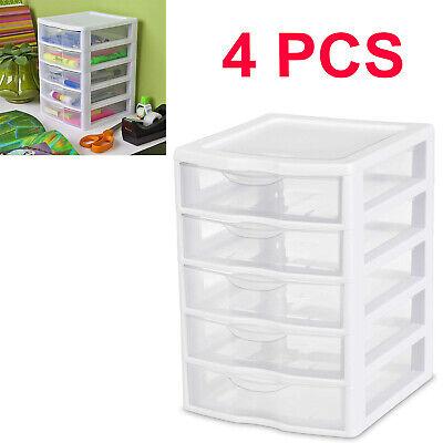 4 PACK 5 Drawer Storage Tower Organizer Box Home Room Clear Sterilite Cabinet Box Clear Drawer Organizer