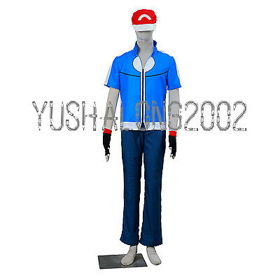 POKEMON Ash Ketchum Cosplay costume Kostüm hat hut cloth handschuh Outfit go 3 Ash Ketchum Outfit