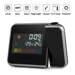 LED Digital Projection Alarm Clock Radio Weather Thermometer Snooze Backlight