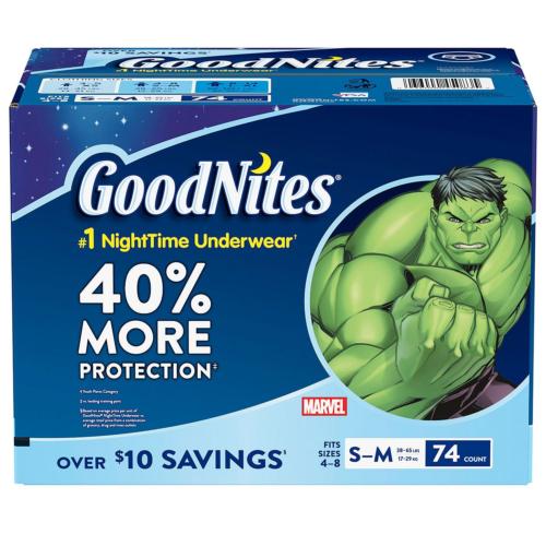 GoodNites Bedtime Underwear for Boys Size 4 - 8 Boys - 74 ct