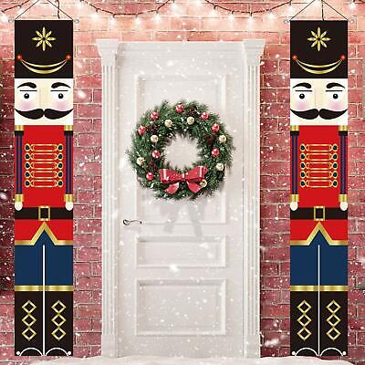 Nutcracker Christmas Decor Life Size Soldier Model Porch Signs Xmas Banners