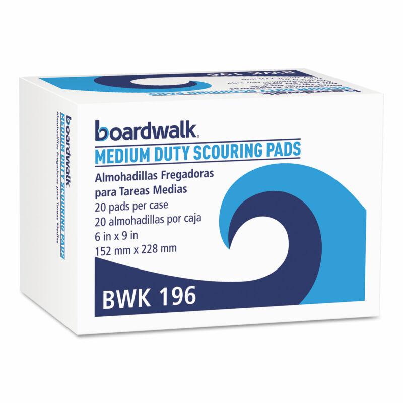 Boardwalk® Medium Duty Scour Pad Green 6 x 9 20/Carton 196