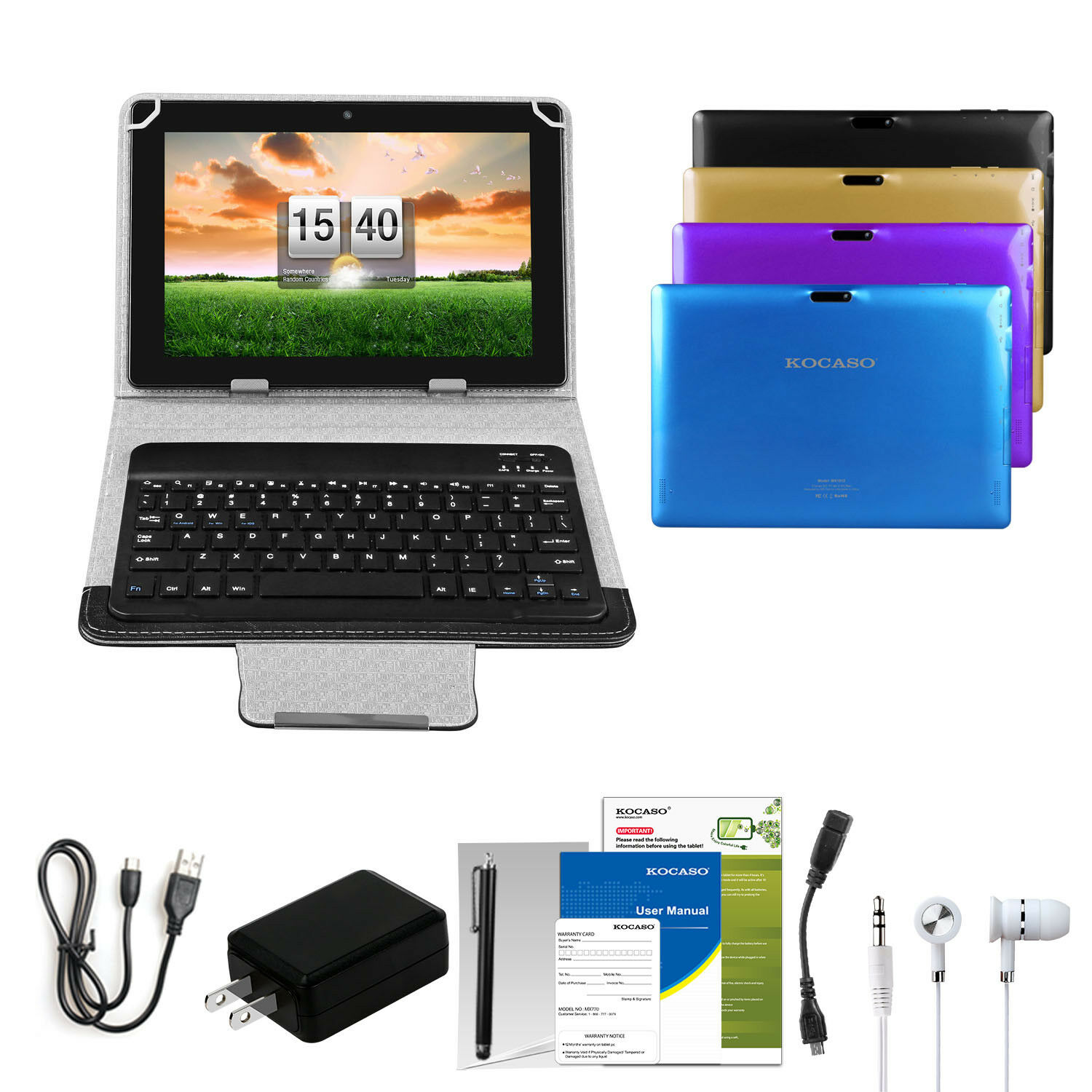 KOCASO® 10.1'' Tablet PC Android 6.0 Quad Core 16GB HD WIFI