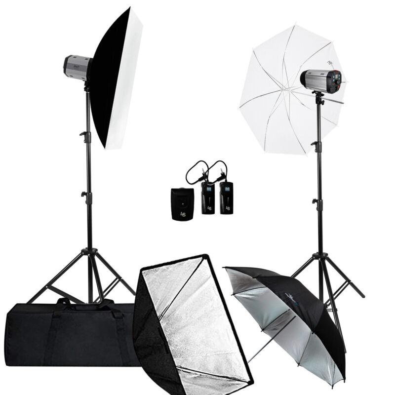 Studio Strobe Flash Monolight Photography Softbox Diffuser Umbrella Lighting Kit