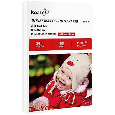 koala 100 sheets 11x17 premium matte inkjet