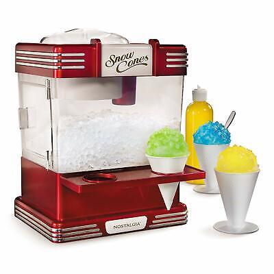 Nostalgia Retro Snow Cone Maker Electric Ice Crusher Machine W Cones Scoop Kits